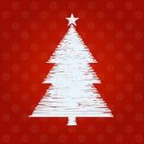 Il ricamo progetta il pino su fondo rosso Immagini Stock Libere da Diritti