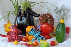 Il ricevimento all'aperto di Juliana: chi ha invitato la melanzana? Fotografia Stock