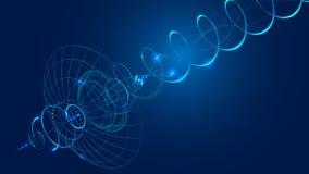 il riflettore parabolico di comunicazione dell'estratto trasmette e riceve un segnale radio illustrazione vettoriale