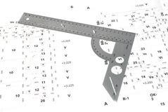 Il righello del metallo e lo schema elettrico. Immagine Stock Libera da Diritti