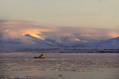 Il rimorchiatore dentro ghiaccia Immagine Stock Libera da Diritti
