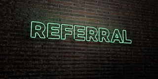 Il RINVIO - insegna al neon realistica sul fondo del muro di mattoni - 3D ha reso l'immagine di riserva libera della sovranità illustrazione di stock