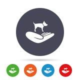 Il riparo pets l'icona del segno La mano tiene il simbolo del cane royalty illustrazione gratis