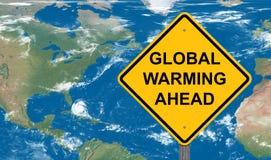 Il riscaldamento globale avanti avverte il segno fotografie stock libere da diritti