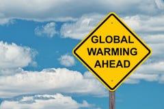 Il riscaldamento globale avanti avverte il segno fotografia stock libera da diritti