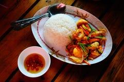 Il riso e le scalpore hanno fritto il calamaro con l'uovo salato York Fotografie Stock Libere da Diritti