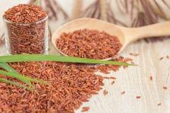 Il riso rosso o il riso di Bruwn ha accatastato su un pavimento di legno ed in un piccolo gl immagini stock