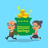 Il risparmio di trasporto di pensionamento dell'uomo anziano del fumetto e della donna anziana insacca Fotografia Stock