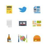 Il ristorante piano di vettore cinguetta audio icone di web dell'hamburger del whiskey della mappa Immagine Stock