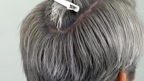Il risultato dei tagli di capelli e del movimento lento di coloritura di capelli, fine su archivi video