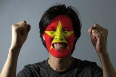 Il ritratto allegro di un uomo con la bandiera del Vietnam ha dipinto sul suo fronte su fondo grigio  fotografia stock libera da diritti