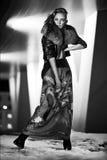 Il ritratto castana splendido sexy della ragazza nella città di notte si accende Immagini Stock Libere da Diritti