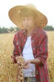 Il ritratto dei semi adolescenti dell'avena della tenuta del ragazzo dell'agricoltore con le coperture esterne in palme a coppa c Fotografia Stock Libera da Diritti