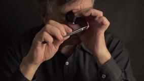 Il ritratto del maschio adulto valuta le gemme ed i cristalli video d archivio