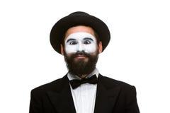 Il ritratto del mimo sorpreso con lo strabismo osserva Fotografie Stock Libere da Diritti