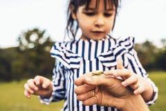 Il ritratto del primo piano della bambina sveglia esplora la natura all'aperto La madre e la figlia di amore passano insieme il t fotografie stock