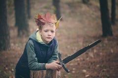 Il ritratto del ragazzo con una corona sulla testa e su una spada in mani I sogni premurosi del ragazzo Immagini Stock Libere da Diritti