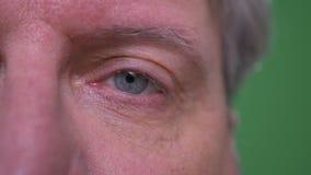 Il ritratto dell'occhio del primo piano uno dell'uomo d'affari senior depresso guarda isolato tristemente sul fondo verde di chro video d archivio