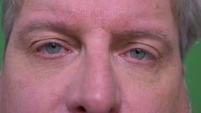 Il ritratto dell'occhio del primo piano dell'uomo dai capelli grigio senior guarda tristemente nella macchina fotografica isolata stock footage