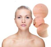Il ritratto della bella donna, concetto di cura di pelle. Fotografie Stock