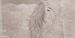 il ritratto della donna con capelli spessi ha progettato per i cosmetici ed il modo Immagini Stock