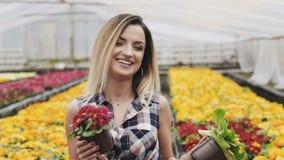 Il ritratto della ragazza graziosa felice mostra il vaso da fiori alla macchina fotografica con il sorriso archivi video