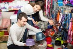 Il ritratto delle coppie che acquistano l'animale domestico lancia nel petshop Immagine Stock