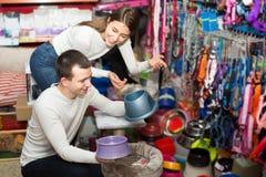Il ritratto delle coppie che acquistano l'animale domestico lancia nel petshop Fotografie Stock
