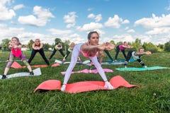 Il ritratto delle donne sportive sorridenti che fanno l'allungamento esercita la classe di forma fisica in parco Immagini Stock