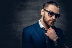 Il ritratto dello studio del maschio barbuto si è vestito in giacca blu ed occhiali da sole fotografia stock