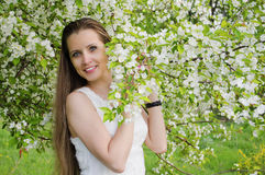 Il ritratto di bella donna con di melo fiorisce Fotografie Stock Libere da Diritti