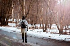 Il ritratto di bella ragazza felice con capelli marroni nella foresta dell'inverno si è vestito in uno stile dei pantaloni a vita immagine stock