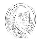 Il ritratto di Ben Franklin da cento dollari contorna assorbire la matita illustrazione di stock