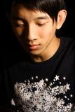 Il ritratto di giovane fine bella dell'uomo dell'Asia eyes. fotografia stock