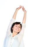 Ritratto di allungamento della donna felice Fotografia Stock Libera da Diritti