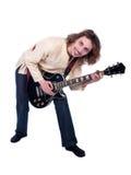 Il ritratto di un uomo con la chitarra gode della musica Fotografia Stock Libera da Diritti