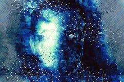 Il ritratto di un uomo con le forme poligonali, ciborg guarda - concetto di mente e di intelligenza artificiale illustrazione vettoriale