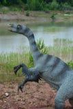 Il ritratto di una delle ricostruzioni dei rettili mesozoici Fotografia Stock