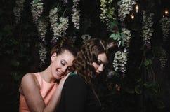 Il ritratto felice di belle coppie romantiche della donna graziosa con l'acconciatura, modo compone, labbra rosse, vestito d'anna Fotografia Stock