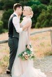 Il ritratto impressionante della sposa e dello sposo si abbraccia tenero fotografia stock libera da diritti