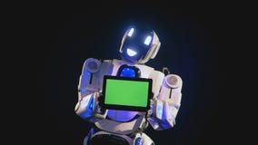 Il robot bianco tiene il bordo di schermo verde illustrazione vettoriale