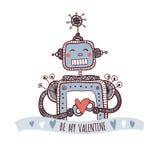 Il robot con cuore, è il mio biglietto di S. Valentino Immagini Stock