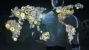 Il robot, cyborg ha toccato lo schermo, ingranaggi dorati d'acciaio che fanno la mappa di mondo globale Intelligenza artificiale
