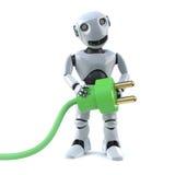il robot 3d usa l'energia verde Fotografia Stock Libera da Diritti