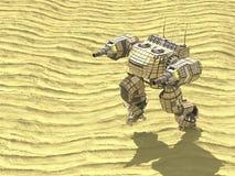 Il robot del carro armato in deserto, 3d, rende illustrazione di stock