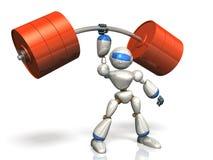 Il robot di umanoide è possiede la forza sovrumana. Fotografia Stock