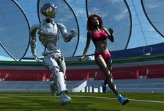 Il robot e la ragazza Fotografia Stock Libera da Diritti