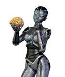 Il robot esamina un cervello umano Fotografie Stock