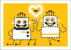 Il robot fa le mani ed i cuori di un'offerta Amore illustrazione di stock