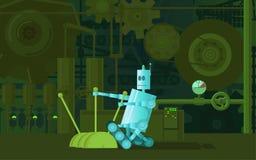 Il robot lavora alle macchine della fabbrica Immagini Stock Libere da Diritti